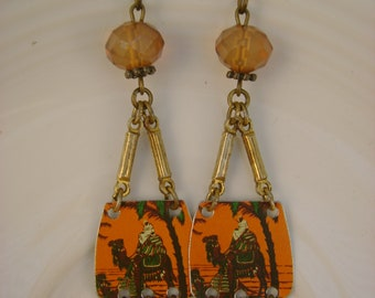 Midnight at the Oasis - Vintage Orange Camel Tins Crystals Recycled Repurposed Dangle Swing Jewelry Earrings - Ten Year Anniversary Gift