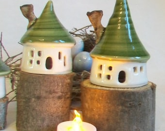 Smaller Sized Fairy House / Night Light - Ready to Ship -  Handmade, Wheel Thrown - Includes Battery Tealight