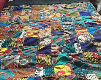 African Handmade patchwork: Double bed spread