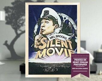 Silent Movie, fanart, silent movie poster, silent movie print, silent movie, silent movie art, vintage movies, vintage, cool art, 1976
