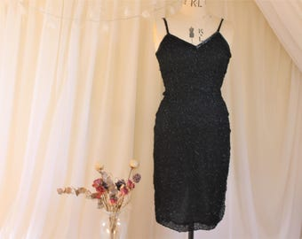 Vintage Designer Black Beaded Dress, 1980s does 1920s Flapper Dress (As Is). Ronald Joyce After Six Collection. Cami wiggle dress.UK 8, US 4