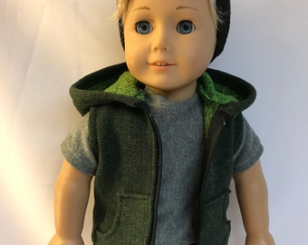 Zip up Green and Black Sleevelesss Hoodie Jacket Hooded Sweatshirt 18 inch boy doll clothes