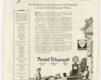 1930 Postal Telegraph / 1930 Gas Station Ad (30-COL-10)