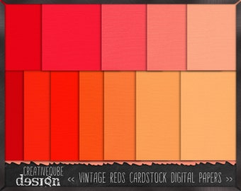 Digital paper, Digital Scrapbook paper pack - Instant download - 12 Digital Papers - Vintage red cardstock
