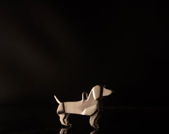 Sterling Silver Origami Dachshund Necklace