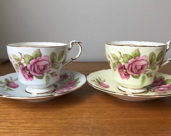 Pair of Paragon Roses Tea Cups and Saucers, Yellow and Blue Teacups and Saucers, Tea for Two Vintage Bone China