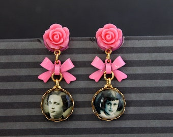 Alice and Lewis Carroll vintage Vitcorian photo plugs  gauges 6mm 2G stretched ears dangles