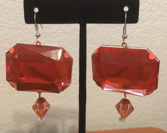 Bright Orange Earrings, Plastic Gems, Fun Earrings, Neon Orange, Large Earrings