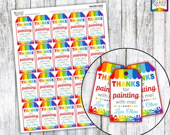 PRINTABLE Rainbow Art Birthday Party - Personalized Birthday Favor Tags - Digital pdf file