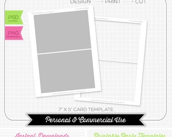 7 x 5 Card Template - INSTANT DOWNLOAD - PRINTABLE - Make your own party printables