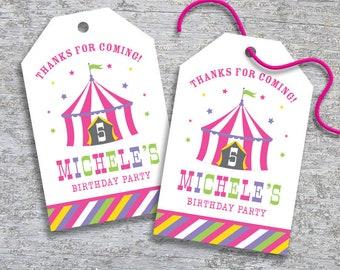 Personalized Circus Party Favor Tags – DIY Printable – Hang Tags – Big Top Pink (Digital File)