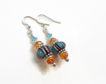 Orange & Turquoise Striped Lampwork Earrings, Turquoise Earrings, Orange Earrings, Lampwork Jewelry, Turquoise Lampwork Earrings