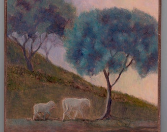 sheep under an olive tree in Portugal painted on reflective copper in a natural birch branch with bark stand OOAK metallic art
