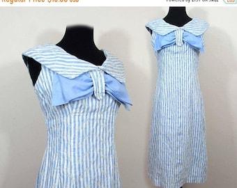 25% off - Empire waist Dress - Mod middy Light blue stripe - Sm