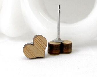 Bamboo Heart Stud Earrings