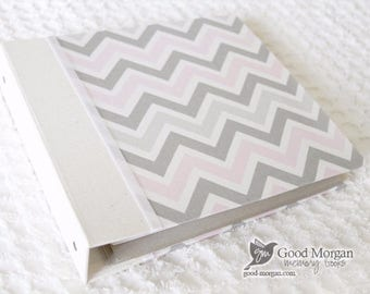 Toddler Memory Book  - Soft Pink and Grey Chevron