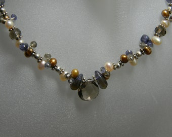 Smoky Quartz, Iolite and Freshwater Pearl Sterling Silver Cluster Necklace