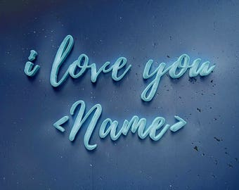 Printable Customized  Calligraphic Light Lettering