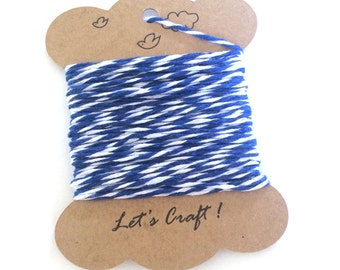 bakers twine - 10 yards cotton twine - gift wrapping twine - crafting twine - striped bakers twine - navy blue and white cotton bakers twine