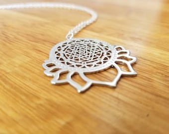 Mandala Lotus Necklace |Silver Necklace | Pendant Necklace