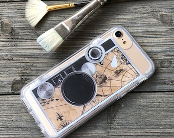 Vintage Camera Phone Case for iPhone 5, SE, 6, 6 Plus, 7, 7Plus, 8, 8 Plus and X. TPU or Wood Options