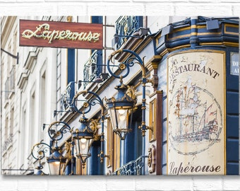 Paris Photography on Canvas - Laperouse Sign and Lights-Horizontal, Gallery Wrapped Canvas, Classic Paris Architecture,  Large Wall Art