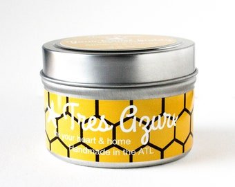 Your travel buddy_Almond&Honey_Soy Candle in 4oz Tin, Scented Candle, Wood Wick Candle, Scented Soy Candle, Tin Candle