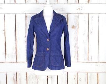 70s vintage blue jean denim blazer jacket/fitted denim jacket/dark wash chambray blazer jacket/xsmall/small