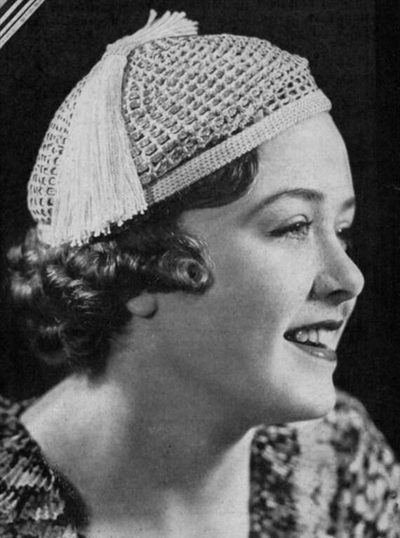 Fez-Barett Vintage 30er Jahre häkeln Hut Muster