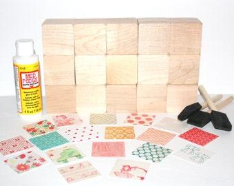 Vintage Nursery - Wooden Baby Blocks - DIY Baby Shower Craft - Shabby Chic - Baby Girl Nursery - 2 Inch