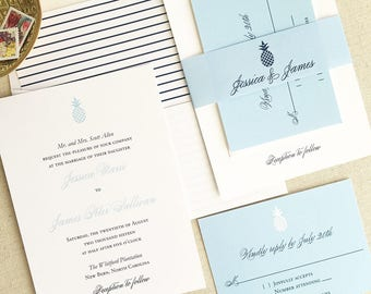 Pineapple Wedding Invitation - Elegant White and Light Blue Wedding Invitations - Southern Wedding Invites - Tropical Destination Weddings