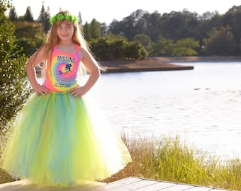 Lime green and turquoise full length tutu skirt. Long tutu. Chocolate