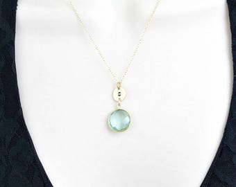 Custom Birthstone Necklace, Initial Disc Necklace, Aquamarine Birthstone Necklace, 14k Gold Filled Initial Necklace, Statement Necklace,