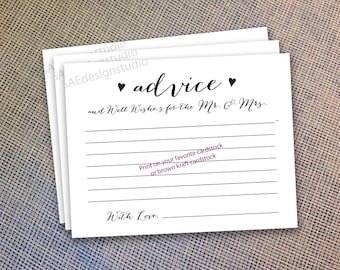 Wedding Advice Cards for the Mr and Mrs Card Instant Download DIY Do Yourself Printable Digital File pdf Bride and Groom Newlyweds 2 files
