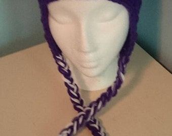 Crochet Purple Owl Hat // Animal Hat // Made to Order // Customizable // Owl // Winter Hat // Braided Hat // Purple and White // Any Size
