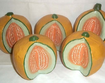 Collection of 5 Vintage Folk Art Style Paper Mache Melons Hand Painted