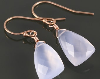 Pale Blue Chalcedony Earrings. Rose Gold Filled Ear Wires. Unique Triangle Shape. Genuine Gemstone. f16e157