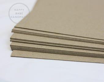 "10 Chipboard Sheets, 8.5"" x 11"", Lightweight Chipboard, Recycled Cardstock, Kraft Chipboard, Photo Backing, Rustic Wedding, Art Supplies"