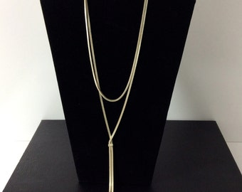 Silver M&J Savitt Double Chain Lariat Necklace/Modern Lariat Necklace/Vintage Lariat Statement Necklace
