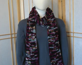 Dark Reds and Blacks Multicolor Scarf (Looser Knit)