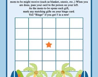 "Printable ""Aloha Beach Baby/Surfer/Tropical"" Bingo Game PDF Instant Digital Download"