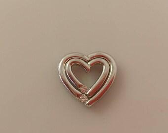 14k White Gold Heart Soulmate Pendant
