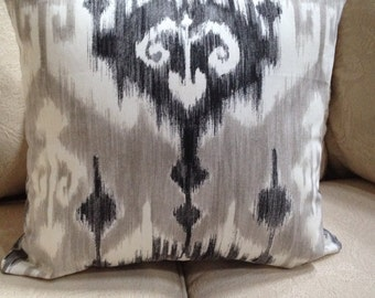 "Marlena Gray/Black Ikat Pillow Cover  4 Available 20"" x 20"""