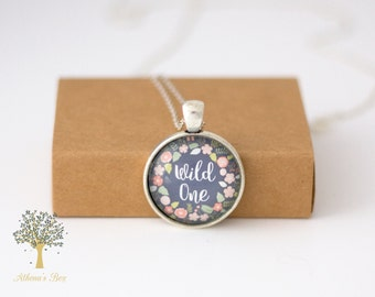 Wild One Necklace | Glass Cabochon Necklace | Silver Necklace Pendant | Gift For Her | Bohemian Jewellery Flower Pendant Floral Necklace