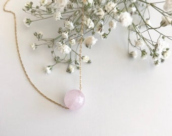 Rose Quartz necklace, Crystal healing necklace, wear your crystals, Simple necklace, Gemstone necklace, January Birthstone, Birthday gift