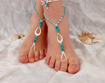 Turquoise beach  wedding barefoot sandals footless sandals soleless sandals boho jewelry bridal white silver vacation