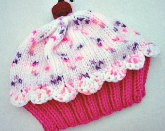 Cupcake Hat preemie newborn toddler sizes Raspberry Watermelon Cake with Cotton Candy Sprinkle Frosting Handmade Hand Knit