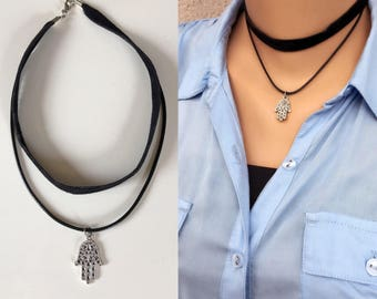 Hamsa Hand Choker Necklace, Charm Leather Cord Necklace, Antique Silver Hamsa Hand Necklace, Silver Jewelry ,Hand of Fatima, Valentines Gift
