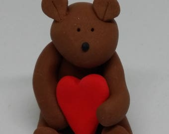 Polymer Clay Teddy with Heart. Teddy. Bear. Valentines Gift. Gift for Her. Red heart. Cute Teddy. Wedding Favour. Birthday Gift. Love.