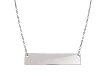 14K White Gold Silver Flat Bar Pendant Free Engraving